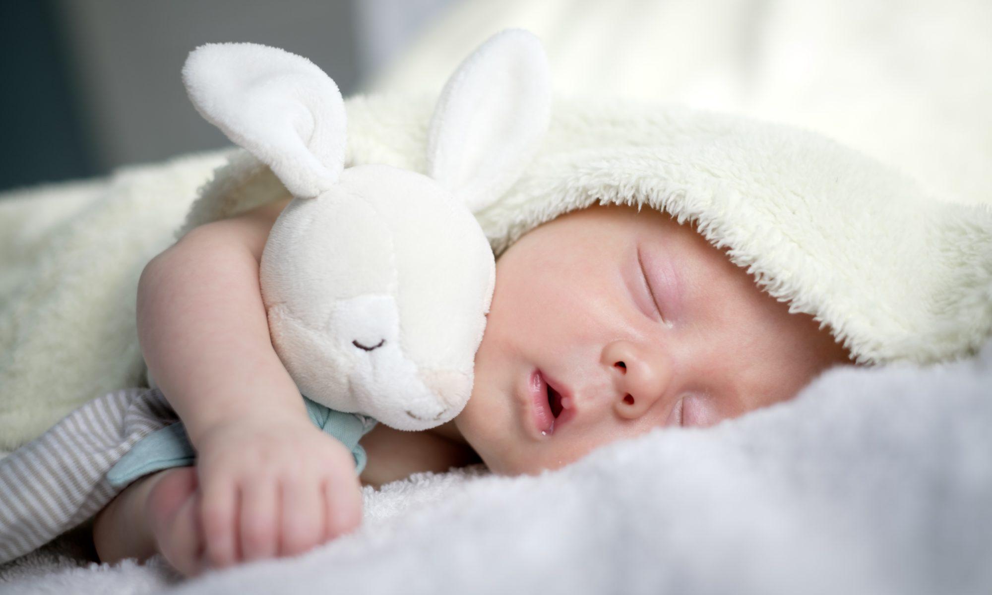 noworodek śpiący z króliczkiem pluszowym
