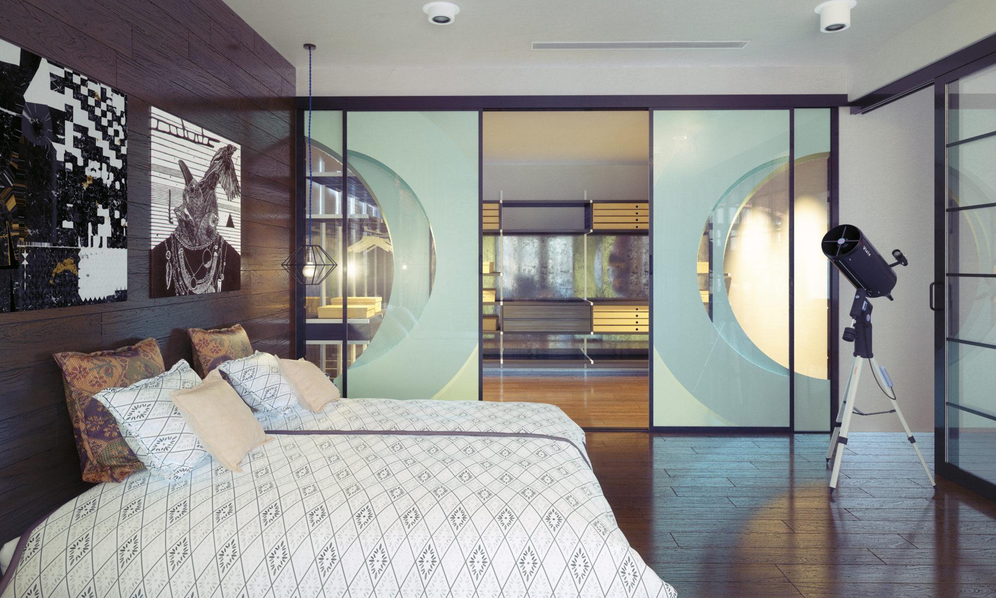 nowoczesna sypialnia z szafą z lustrem